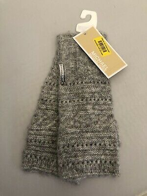 NWT Michael Kors Cable Knit Fingerless Grey Warm Cozy Gloves 537610