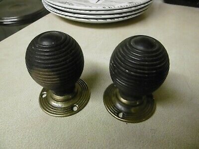 Pair Of Salvaged Reclaimed Victorian Beehive Rosewood Brass Ebonized Door Knobs