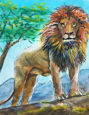 """ACEO-ORIGINAL painting by G.Liedtke - Cats - """"Lion"""" Africa Big Cat"""