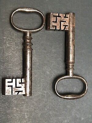Two Large Antique Coffer / Door Keys With Complex Warding
