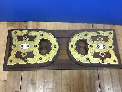 Antique Victorian Sliding Rack Bookend Mahogany Brass Celluloid