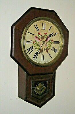 Antique 8 Day Ansonia N.y. Short Drop Wall Regulator Floral Dial Clock Working