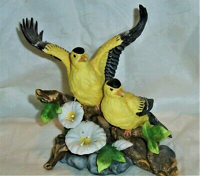 Beautiful Vintage Yellow Birds Bisque Porcelain Figurine