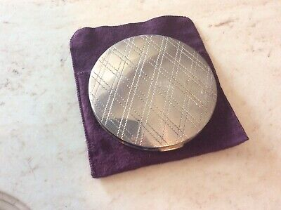 """Vintage Large Sterling Silver Round Compact, No Monogram Apprx 4"""""""