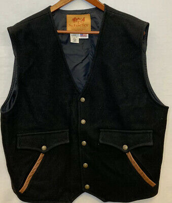 XL Mens Western Schaefer Outfitter Made In USA Black Wool Vest