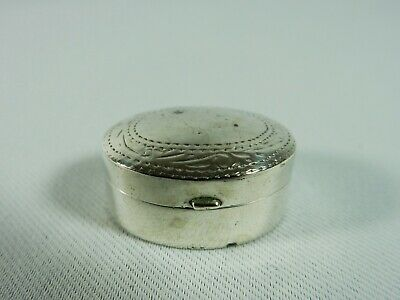Superb Vintage Sterling Solid Silver 925 Oval Pill Box Container Snuff Antique