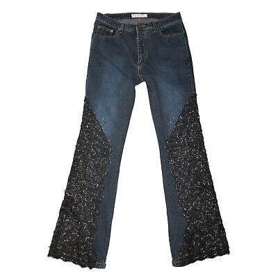 SASSY THAI Jeans Women's 31 x 31 Stretch High Waisted Bootcut Black Lace Detail