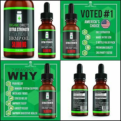 Hemp Oil (2 Pack :: 50,000mg Each) Pain Relief Anxiety Relief Sleep Support