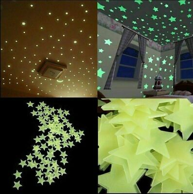 NEW 100Pcs 3D Star Wall Stickers Glow In The Dark Decal Baby Kids Room Decor US