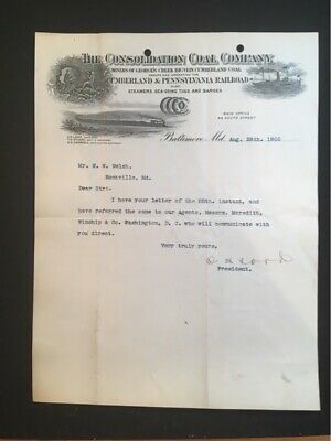 1900 Used Letterhead Consolidation Coal Co Baltimore Md Illus Miner, Train, Boat