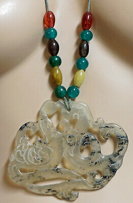 Huge Pierced Translucent Jade Pendant with Hand Made Glass Accent beads on Cord