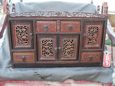 Antique Chinese Brown/ red  Wood Hand Carved Altar Table Cabinet Storage box