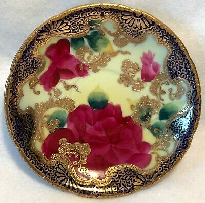 "19th c. Hand Painted NIPPON 5.25"" Demitasse Saucer - Red Roses w/ Gilt Moriage"