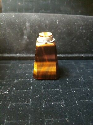 BEAUTIFUL TIGER'S EYE STONE STERLING TOP 19th C. ANTIQUE CHINESE SNUFF BOTTLE
