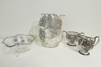 4 Pc Vintage Lot Of Silver Overlay  Pitcher=Creamer=Sugar=Candy/Nut Dish