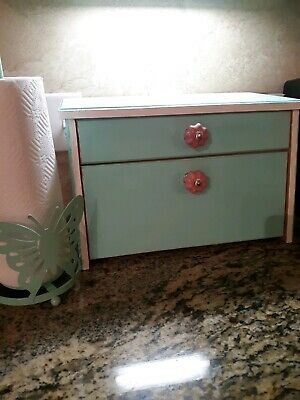 Rustic Farmhouse Hand painted bread box for kitchen.