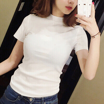 180 2019 summer new korean style women's casual fashion skinny half high collar