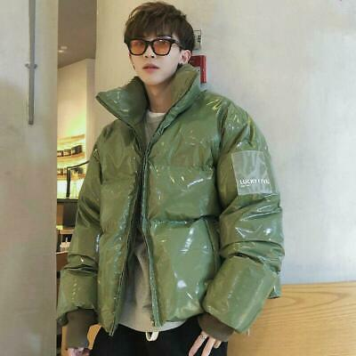Mens Quilted Puffer Jacket Metallic Wet Look Padded Outerwear Punk Loose Coat Sz