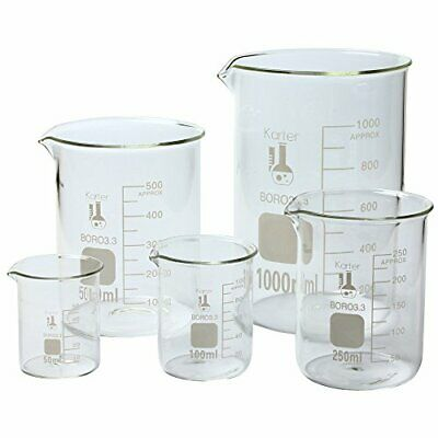 Laboratory 3.3 Borosilicate Glassware Science Lab Chemistry Beaker Set 5 Size