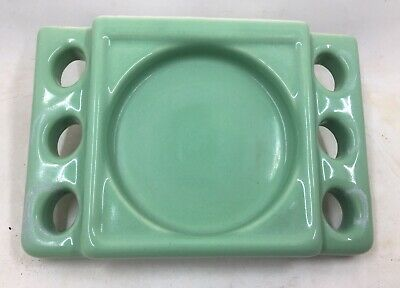 Vintage Art Deco Green Porcelain Wall Mount Tile-in Soap Dish Tray
