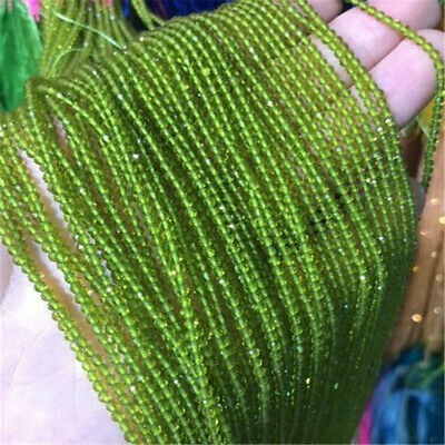 3Pcs 2mm Green Faceted Spinel Loose Beads Making Jewelry 15 inches Shining