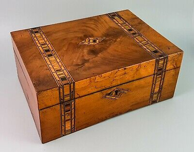 Victorian burr walnut Tunbridge Ware banded jewellery sewing box inlay marquetry