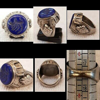 Wonderful Old Silver Ring With Amazing Lapis lazuli Stone Bull Intaglio
