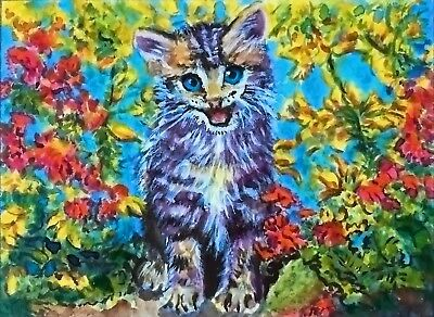 "ACEO-ORIGINAL painting by G.Liedtke - Cat - ""Flower Kitten"" miniature"