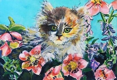"ACEO-ORIGINAL painting by Gabriele Liedtke - Cat - ""Out Exploring 1"" miniature"