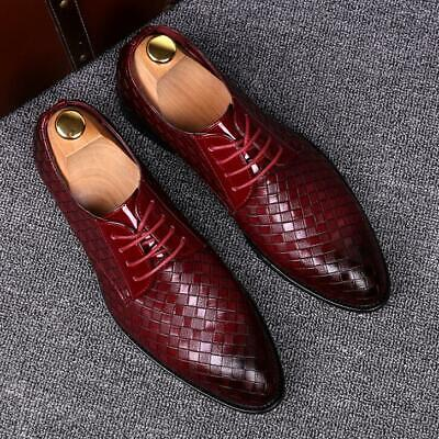 Men's Formal PU Leather Shoes Flat Casual Oxfords Wedding Business Lace Up Shoes