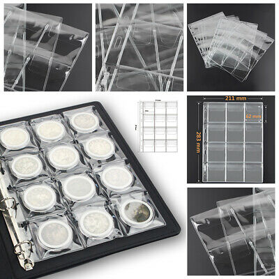 12 Grid Coin Holder Collection Collecting Album Loose-leaf Stock Pocket Storage