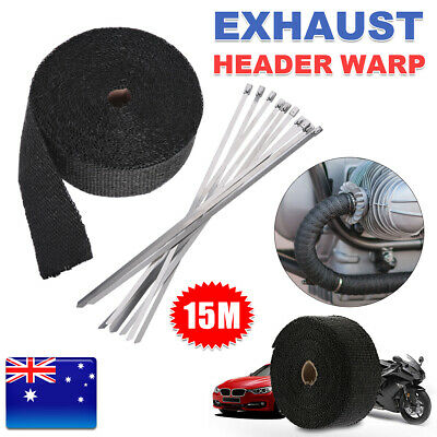 Heat Resistant 2000F Exhaust Wrap 15M*50mm Protector 10 Stainless Steel Tie Roll
