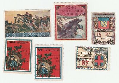 France- 6 different WW1 military poster stamps