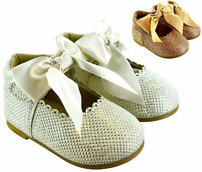 Kids Babys Infants Toodler Glitter Bow Spanish Style Girls Wedding Party Shoes