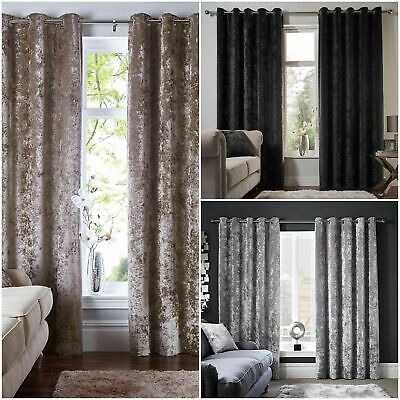Luxury Pair Of Blackout Lined Thermal Crushed Velvet Eyelet Curtains + Tie Backs