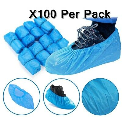 100 Disposable Shoe Cover Blue Anti Slip Plastic Cleaning Overshoes-Boot-Safety