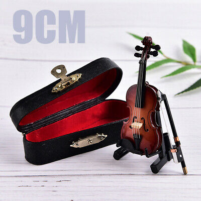 Mini Violin Miniature Musical Instrument Wooden Model WITN Support Case Gift