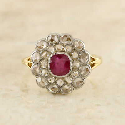 Victorian Ruby and Diamond Cluster Ring 18ct Yellow Gold