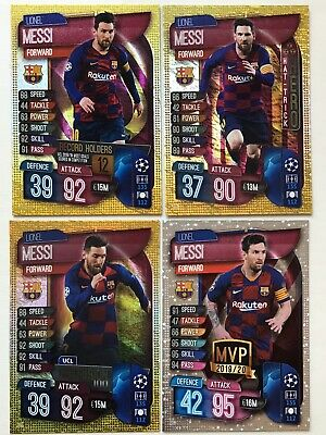 Match Attax 2019/20 Lionel Messi All 4 Specials Cards Fc Barcelona