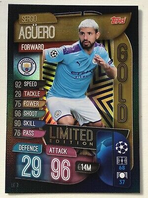 Match Attax 2019/20 Limited Edition Sergio Agüero Manchester City Gold