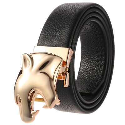 Men's Genuine Leather Ratchet Belt with Automatic Sliding Buckle Adjustable Size
