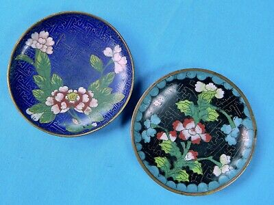 2 Chinese Japanese Vintage Hand Painted Enamel Cloisonne Brass Dish Plate Flower