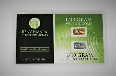 1/10 Gram Gold & Platinum Bar COMBO 999 Fine Bullion Bars in sealed certcard a5