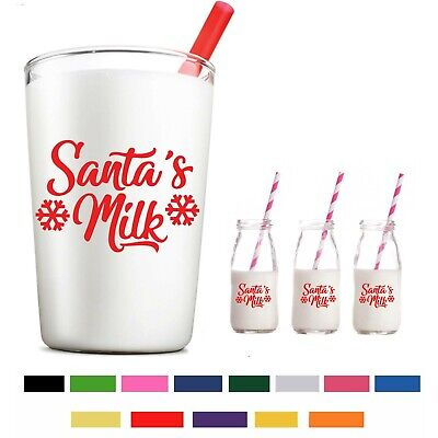 Bottle//Glass Sticker Father Christmas Milk Sticker BULK Milk For Santa Sticker