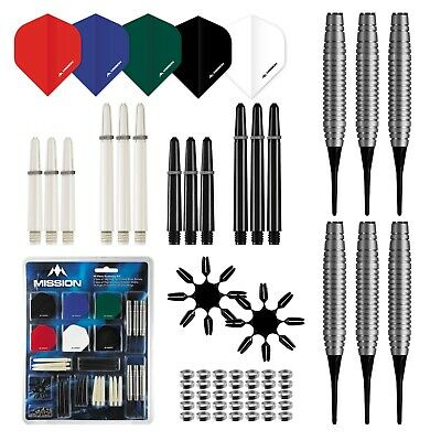 Soft Tip Mission Darts + Accessory Pack Kit Stems Flights Accessories 90 Pieces