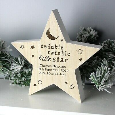 Personalised Twinkle Rustic Star Decoration Ornament New Baby Gift 1st Christmas