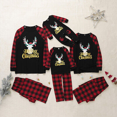 Womens Mens Kids XMAS PJs Family Matching Christmas Nightwear Pyjamas Pajamas