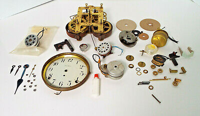 Vintage Clock Parts Movements Face Hands Huge Estate Lot Sold As Found Untested