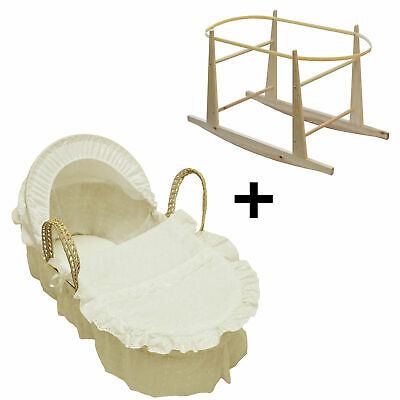 Broderie Anglaise Palm Baby Moses Basket And Rocking Stand- Cream