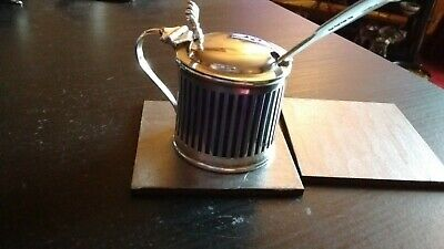 Solid Silver Mustard Pot with Spoon, Hallmarked, in good condition, good size